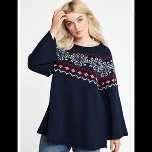 Ellos fair isle patterned A line sweater 18/20